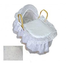 White Sparkly Dolls Moses Basket with Natural Stand