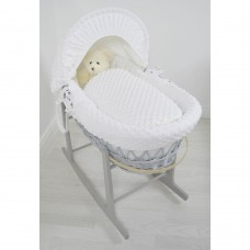 Cuddles Collection Grey Wicker Moses Basket (Dimple White)