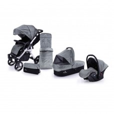 Venicci Soft Travel System - White Chassis / Denim Grey