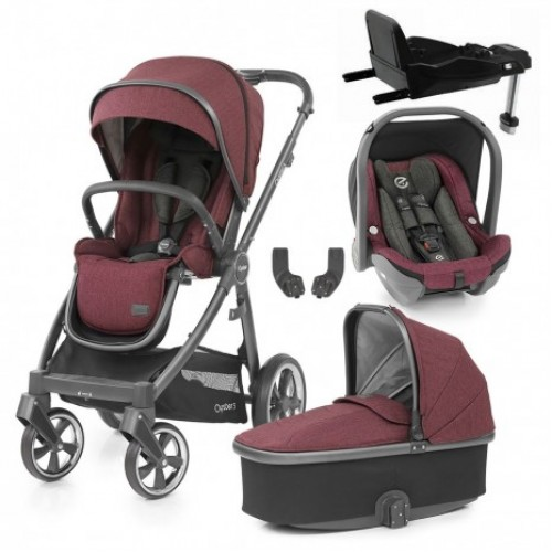 Babystyle Oyster 3 Essential 5-Piece Bundle - City Grey Chassis/Berry