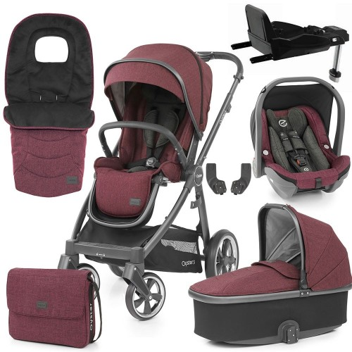 Babystyle Oyster 3 Luxury 7-Piece Bundle - City Grey Chassis/Berry