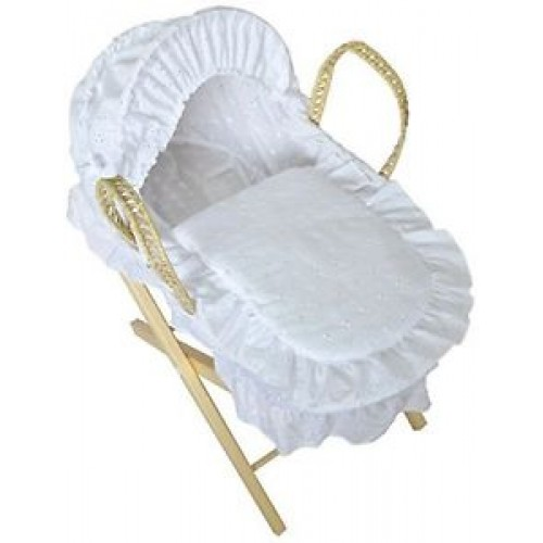 White Dolls Moses Basket with Natural Stand