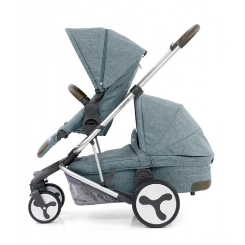 BabyStyle Hybrid Tandem Stroller-1 Carrycot-2nd seat (mineral)