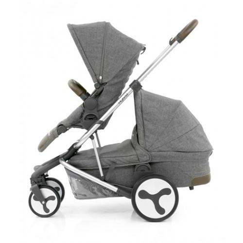 BabyStyle Hybrid Tandem Stroller-1 Carrycot-2nd seat (Stonewash)