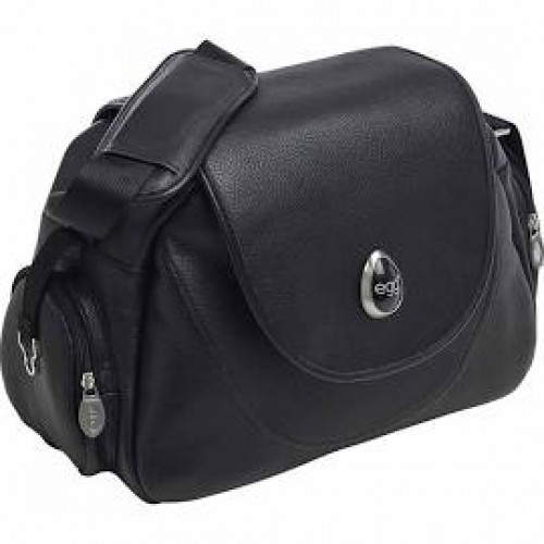 Egg Changing Bag in Black Leather