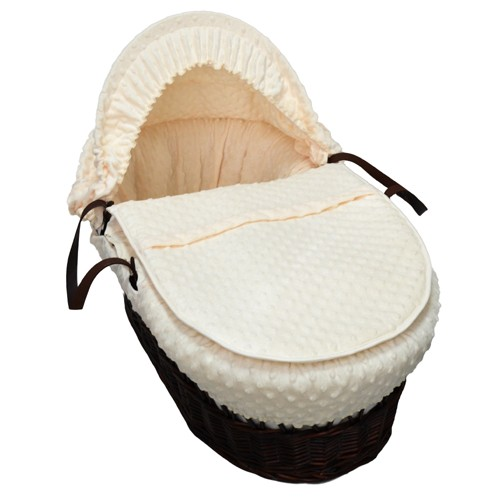 Cuddles Collection Dark Wicker Moses Basket (Dimple Cream)