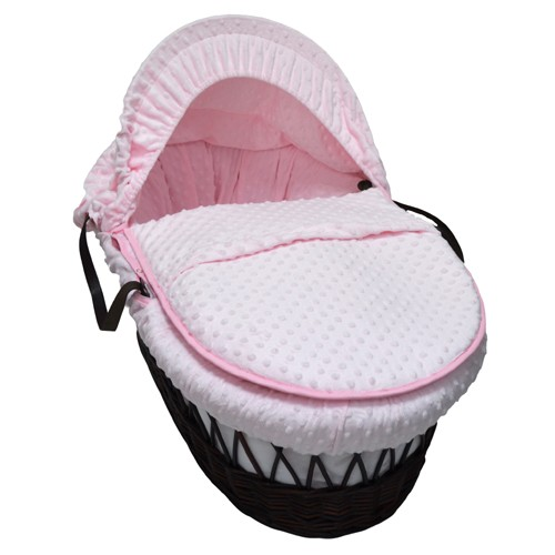 Cuddles Collection Dark Wicker Moses Basket (Dimple Pink)