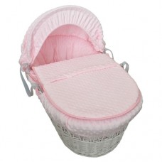 Cuddles Collection White Wicker Moses Basket (Dimple Pink)