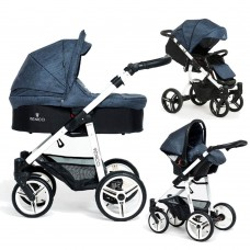 Venicci Soft Travel System - White Chassis / Denim Blue