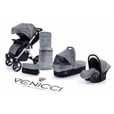 Venicci Soft Travel System - Black Chassis / Denim Grey
